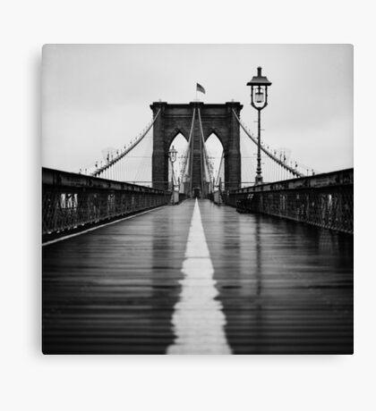 Brooklyn Bridge In Rain Canvas Print