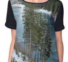Mountain lake on wintertime Chiffon Top