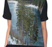 Mountain lake on wintertime Chiffon Top