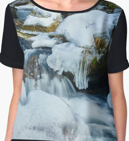 Frozen river on mountains Chiffon Top
