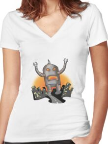 Robot Attack Women's Fitted V-Neck T-Shirt
