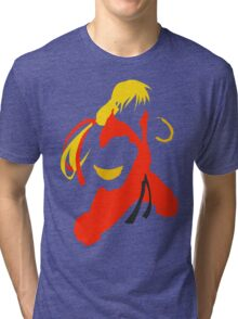 Ken silhouette/cutout (Street fighter) Tri-blend T-Shirt