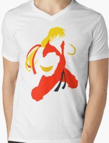 Ken silhouette/cutout (Street fighter) Mens V-Neck T-Shirt