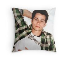Dylan O'Brien Green Flannel Throw Pillow