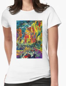 """MONACO GRAND PRIX"" Vintage Auto Racing Painting Print Womens Fitted T-Shirt"