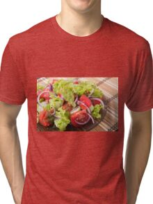 Fragment of vegetarian salad from fresh vegetables Tri-blend T-Shirt