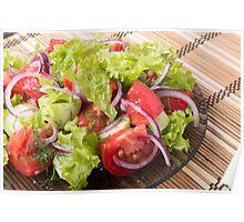 Fragment of vegetarian salad from fresh vegetables Poster