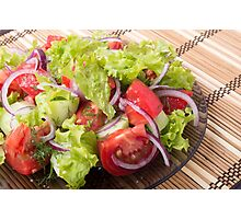 Fragment of vegetarian salad from fresh vegetables Photographic Print