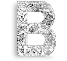 Animal Alphabet Letter B Canvas Print