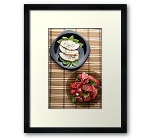 Top view of the table with a home-cooked meal Framed Print