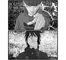 Naruto/Sasuke Roadman (UK Street clothing) B/W Photographic Print