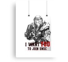 Master Chief - I WANT YOU! Poster Parody Canvas Print