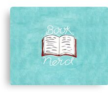 Book Nerd - Watercolour Illustration of a Book with Calligraphy Lettering Canvas Print