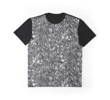 Silver Sparkly Confetti Glitter Graphic T-Shirt