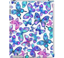 Watercolor Fruit Patterned Butterflies - aqua and sapphire iPad Case/Skin