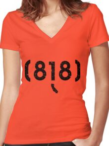 Area Code 818 California Women's Fitted V-Neck T-Shirt