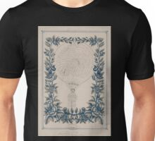 0007 ballooning Tribute to French ballonist Henri Giffard in the form of a handwritten French text shaped as a balloon inside a printed floral border C T Clarey Gibert Tours Unisex T-Shirt