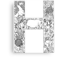 Animal Alphabet Letter H Canvas Print