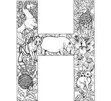Animal Alphabet Letter H Photographic Print