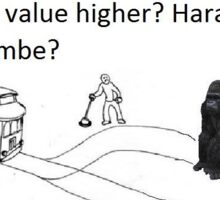 The True Harambe Trolley Problem Sticker
