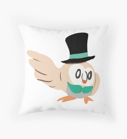 Dapper Rowlet Throw Pillow