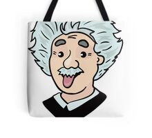 Albert Einstein funny illustration with tongue out Tote Bag