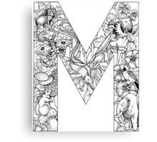 Animal Alphabet Letter M Canvas Print