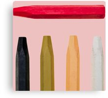 Oil Crayons with Bright Colors Red Pink Brown white and Black Canvas Print