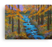 Mountain river, home decor, wall art, impressionism, painting, mixed media Canvas Print