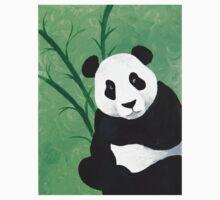 Happy Panda Bear With Bamboo Acrylic Painting One Piece - Short Sleeve