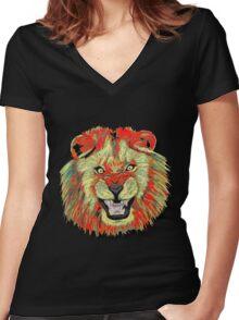 Lion / Löwe version 2 Women's Fitted V-Neck T-Shirt