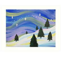 Whimsical Winter Scene Acrylic Painting Art Print