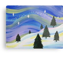 Whimsical Winter Scene Acrylic Painting Metal Print