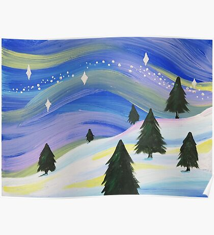 Whimsical Winter Scene Acrylic Painting Poster
