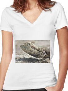 Eastern Water Dragon Women's Fitted V-Neck T-Shirt