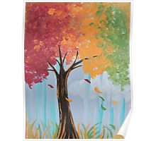 Color Changing Autumn Tree Acrylic Painting Poster