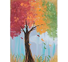 Color Changing Autumn Tree Acrylic Painting Photographic Print