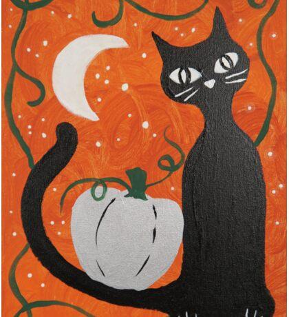 Black Cat Pumpkin Spice Autumn Halloween Painting Sticker