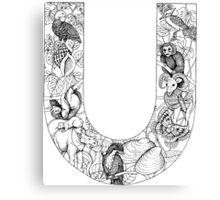 Animal Alphabet Letter U Canvas Print
