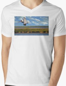 Pelican with Wind Turbines Mens V-Neck T-Shirt