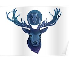 Blue Spirit Stag - Skull Symbol Poster