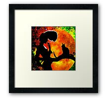 BLACK CATS HARVEST MOON Framed Print
