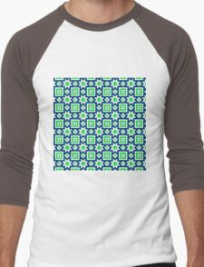 Blue and green abstract pattern background Men's Baseball ¾ T-Shirt