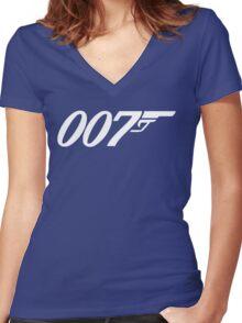 007 James Bond Sticker Vinyl Decal Gun Wall Car 12 Women's Fitted V-Neck T-Shirt