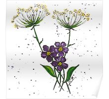 3 Purple flowers Poster