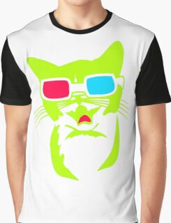 Cat With 3D Glasses Graphic T-Shirt