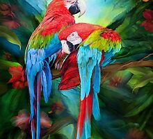 Tropic Spirits - Macaws by Carol  Cavalaris