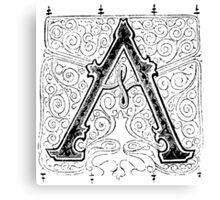 Baroque Alphabet Letter A Canvas Print
