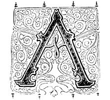 Baroque Alphabet Letter A Photographic Print