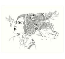 Hummingbird Girl Art Print